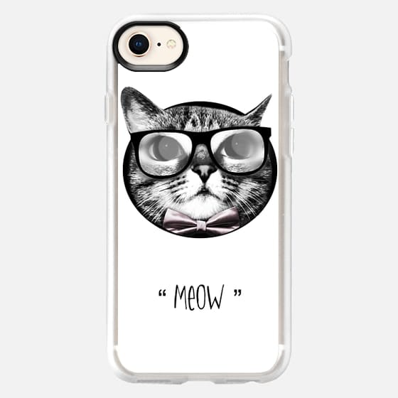 Cat with glasses - meow - Snap Case