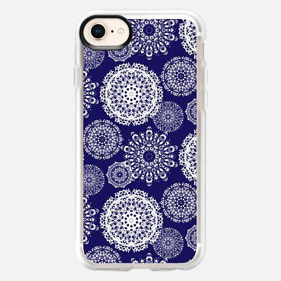 White Navy Crochet Mandalas - Snap Case