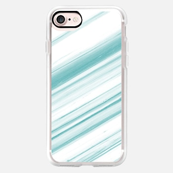 iPhone 7 Case Teal and White Striped Marble