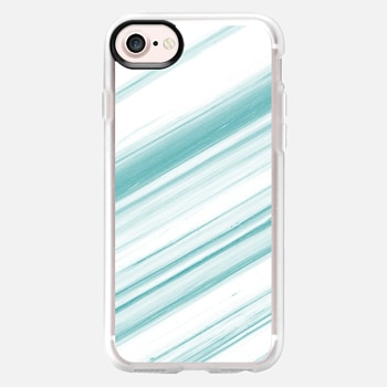 iPhone 7 เคส Teal and White Striped Marble