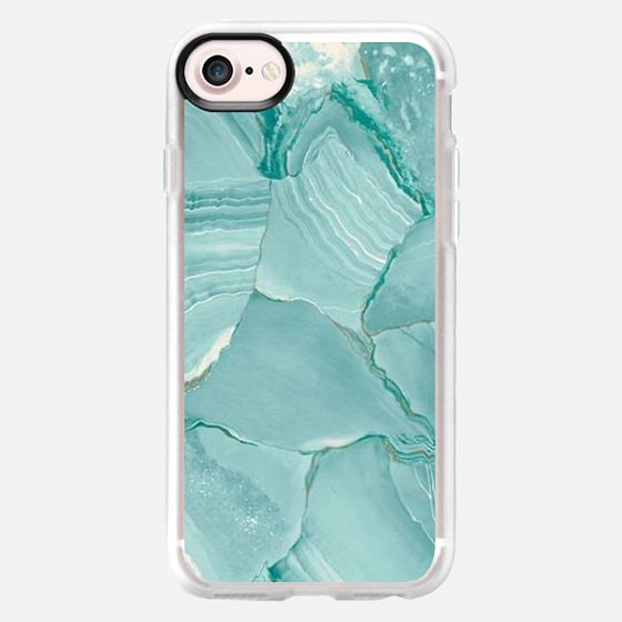 Teal Striped Marble - Wallet Case