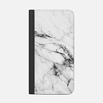 iPhone Wallet Case -  Black and White Marble