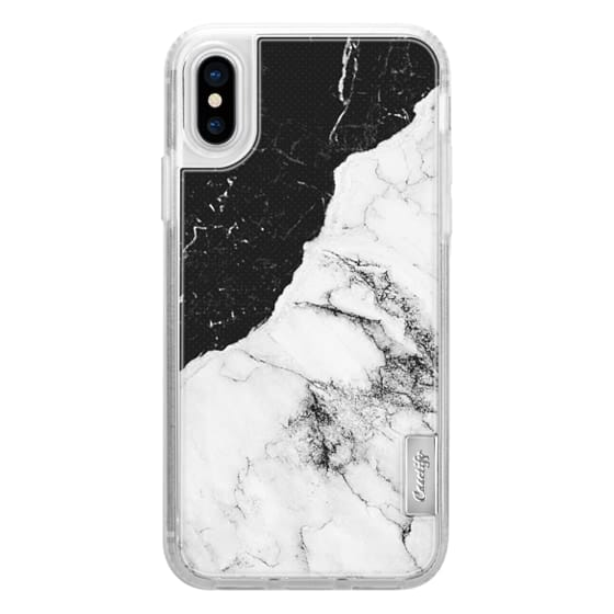 iPhone X Cases - Black and White Contrast Marble