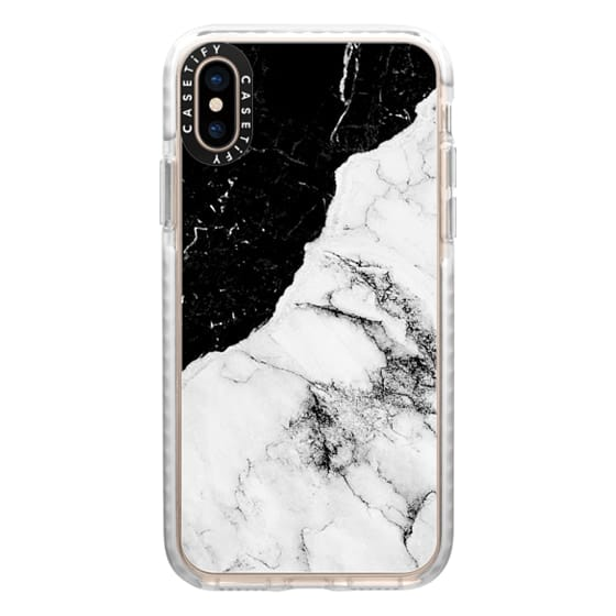 iPhone XS Cases - Black and White Contrast Marble
