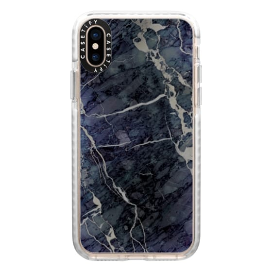 iPhone XS Cases - Blue Stone Marble
