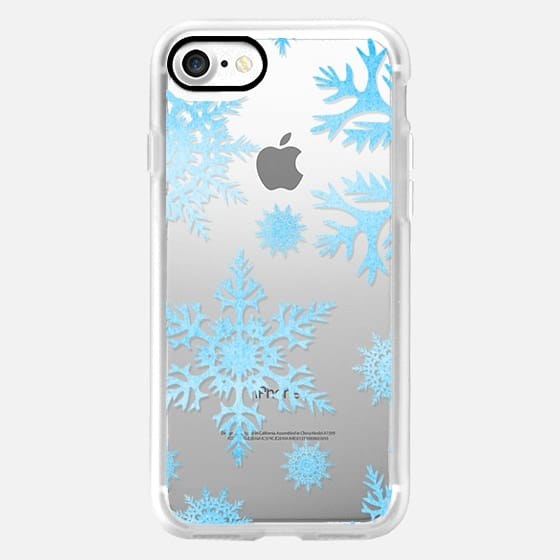 Watercolor Snowflakes Winter Blue Turquoise -