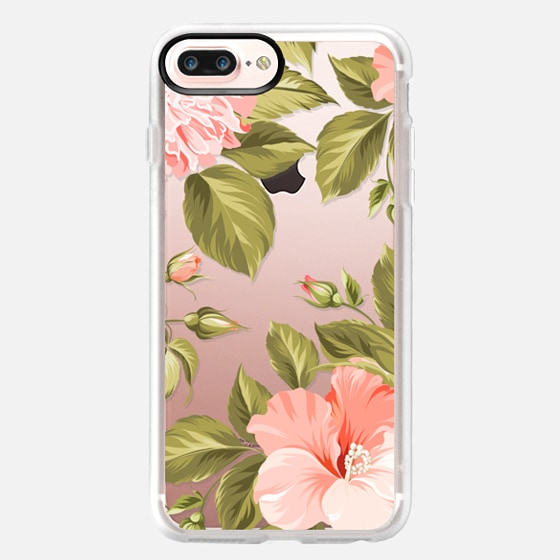 iPhone 7 Plus Case - Peach Tropical Flowers - Beach Floral