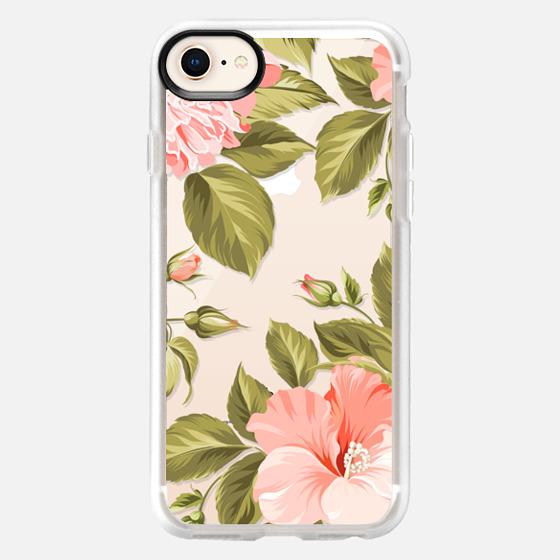 iPhone 8 Case - Peach Tropical Flowers - Beach Floral