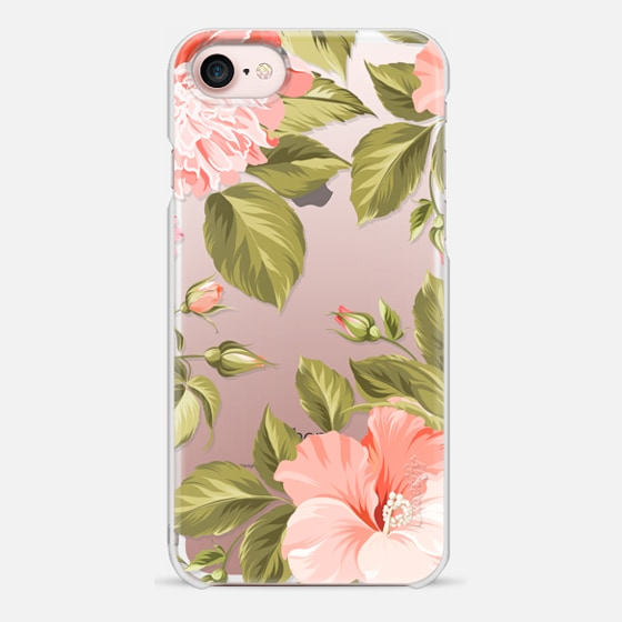iPhone 7 ケース - Peach Tropical Flowers - Beach Floral