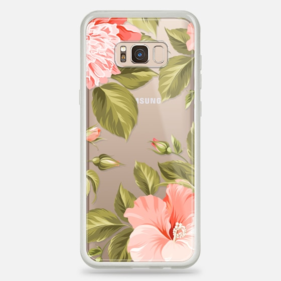 Galaxy S8+ Case - Peach Tropical Flowers - Beach Floral