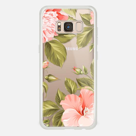 Galaxy S8 케이스 - Peach Tropical Flowers - Beach Floral