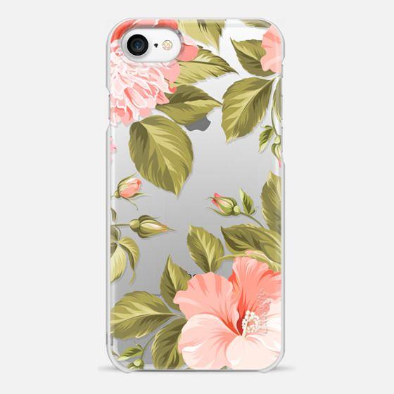 iPhone 7 Case - Peach Tropical Flowers - Beach Floral