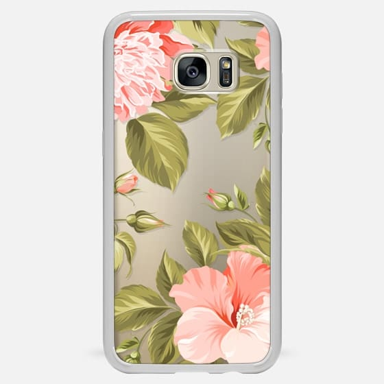 Galaxy S7 Edge Case - Peach Tropical Flowers - Beach Floral