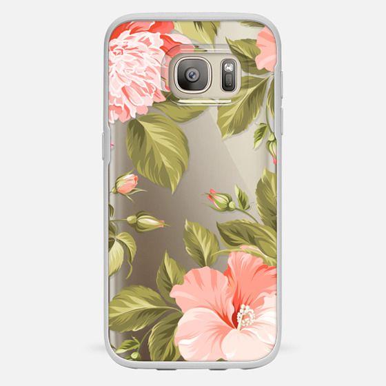 Galaxy S7 Hülle - Peach Tropical Flowers - Beach Floral