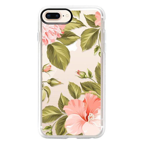 iPhone 8 Plus เคส - Peach Tropical Flowers - Beach Floral