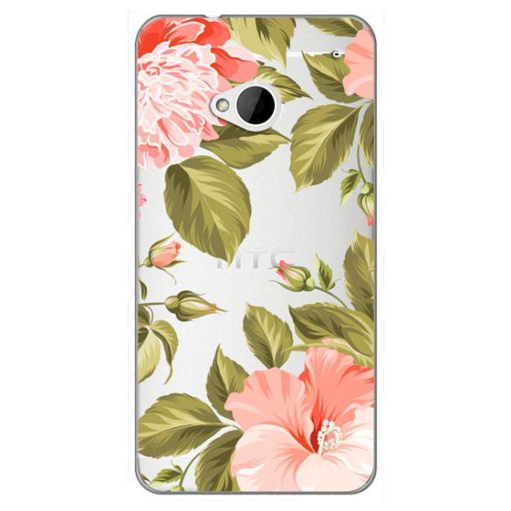 Htc One Cases - Peach Tropical Flowers - Beach Floral