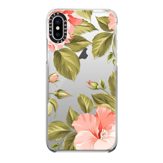 iPhone X Cases - Peach Tropical Flowers - Beach Floral