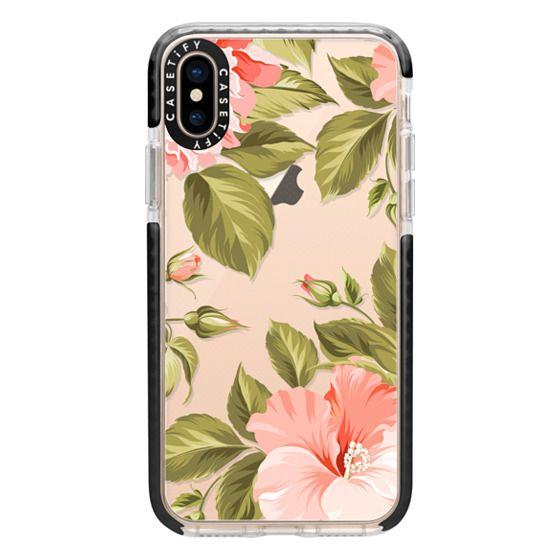 iPhone XS Cases - Peach Tropical Flowers - Beach Floral