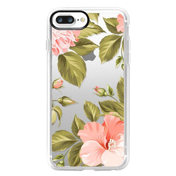 iPhone 7 Plus Cases - Peach Tropical Flowers - Beach Floral