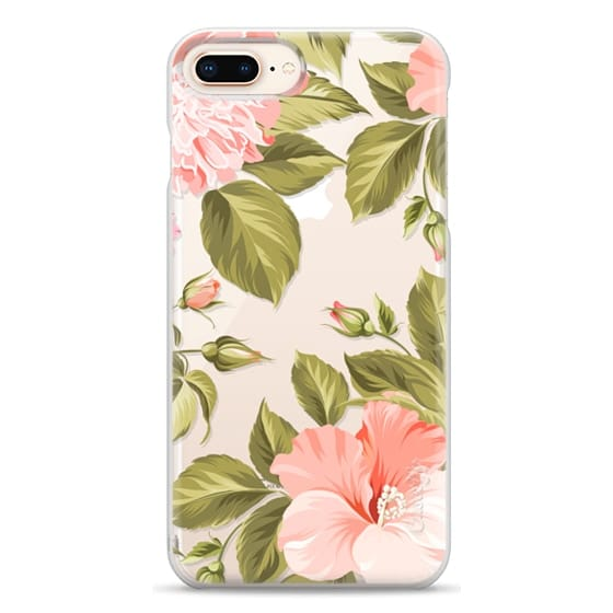 iPhone 8 Plus Cases - Peach Tropical Flowers - Beach Floral