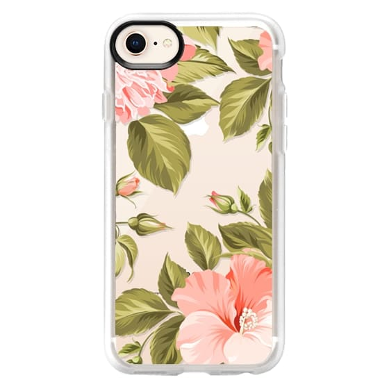 iPhone 8 Cases - Peach Tropical Flowers - Beach Floral