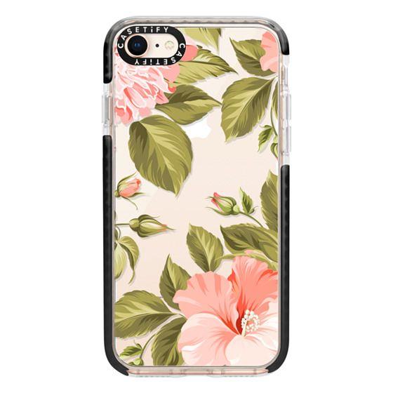 iPhone 8 Cases - Peach Tropical Flowers - Beach Floral