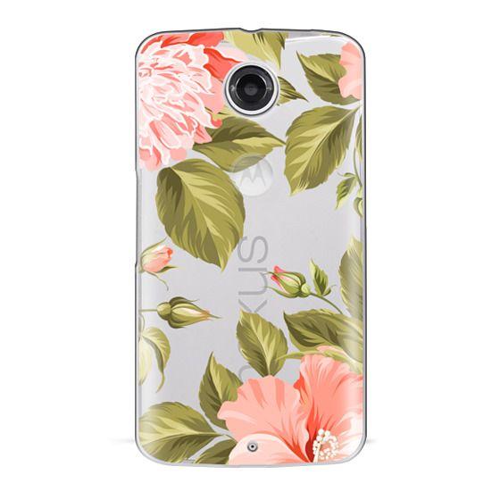 Nexus 6 Cases - Peach Tropical Flowers - Beach Floral