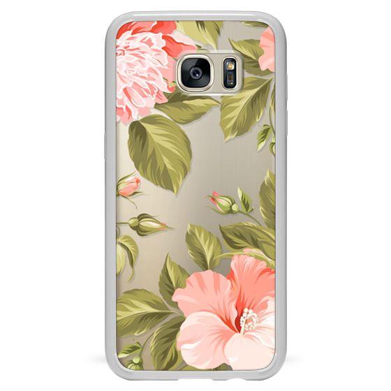 Samsung Galaxy S7 Edge Cases - Peach Tropical Flowers - Beach Floral