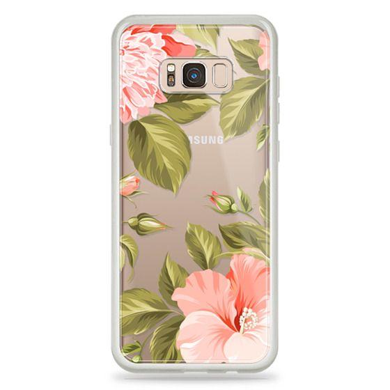 Samsung Galaxy S8 Plus Cases - Peach Tropical Flowers - Beach Floral