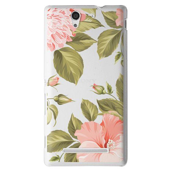 Sony C3 Cases - Peach Tropical Flowers - Beach Floral