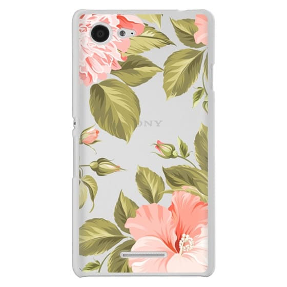 Sony E3 Cases - Peach Tropical Flowers - Beach Floral