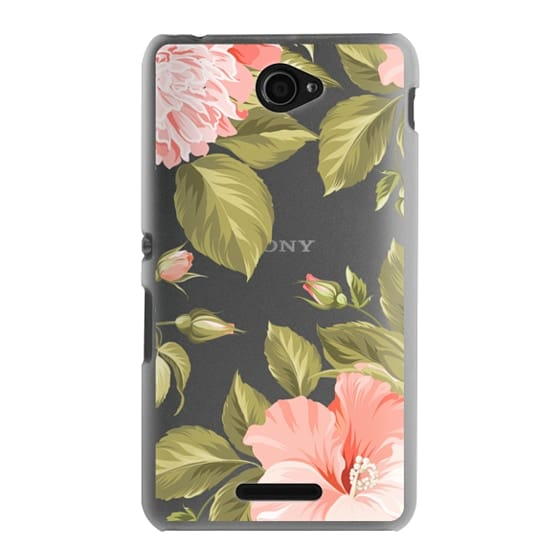 Sony E4 Cases - Peach Tropical Flowers - Beach Floral