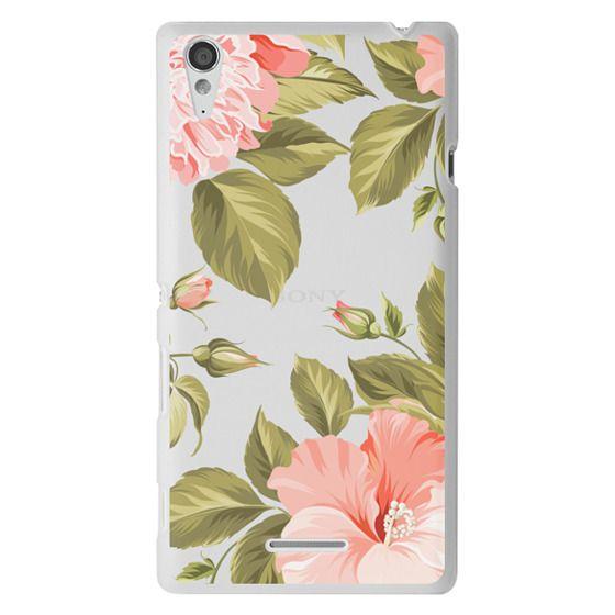 Sony T3 Cases - Peach Tropical Flowers - Beach Floral