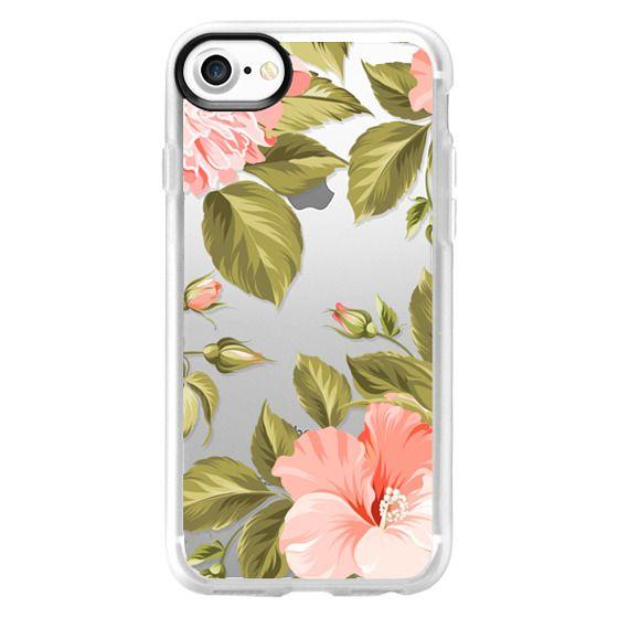 iPhone 7 Cases - Peach Tropical Flowers - Beach Floral