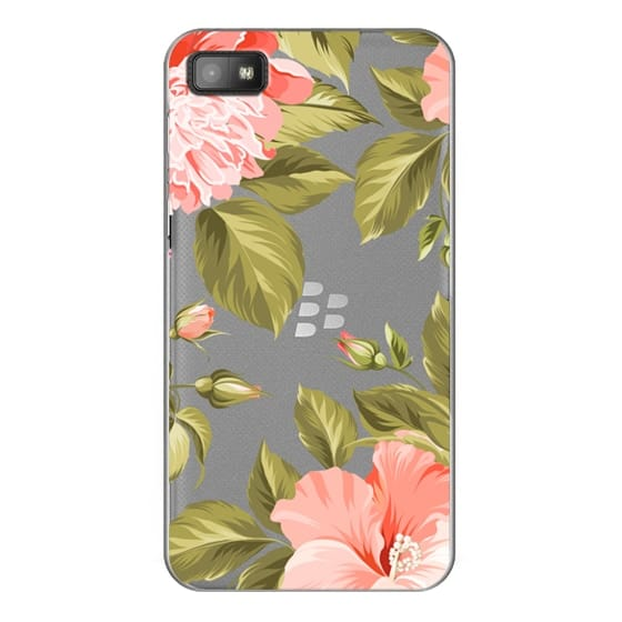 Blackberry Z10 Cases - Peach Tropical Flowers - Beach Floral