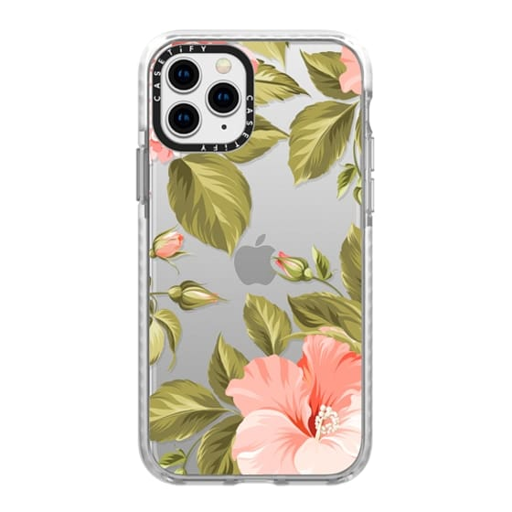 iPhone 11 Pro Cases - Peach Tropical Flowers - Beach Floral