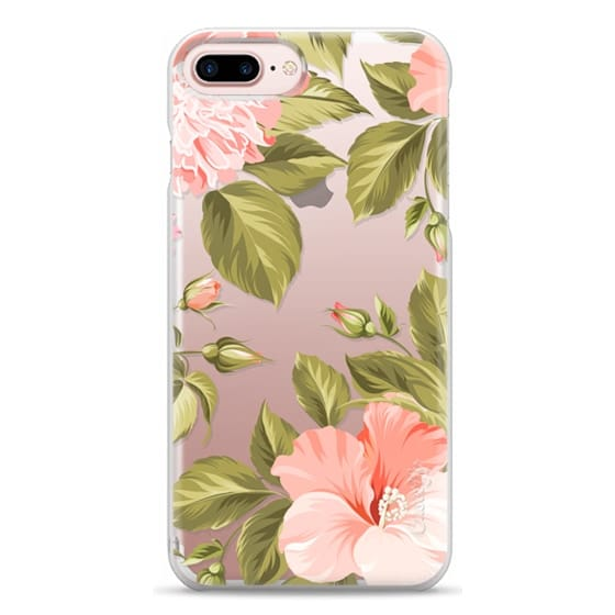 iPhone 7 Plus Cases - Peach Tropical Flowers - Beach Floral