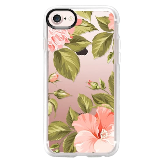 iPhone 7 Cases - Peach Tropical Flowers - Beach Floral