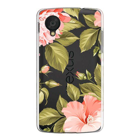 Nexus 5 Cases - Peach Tropical Flowers - Beach Floral