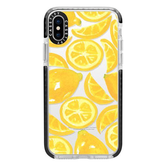 iPhone X Cases - Watercolor Lemon Fruit - Citrus Yellow Tropical Fruit