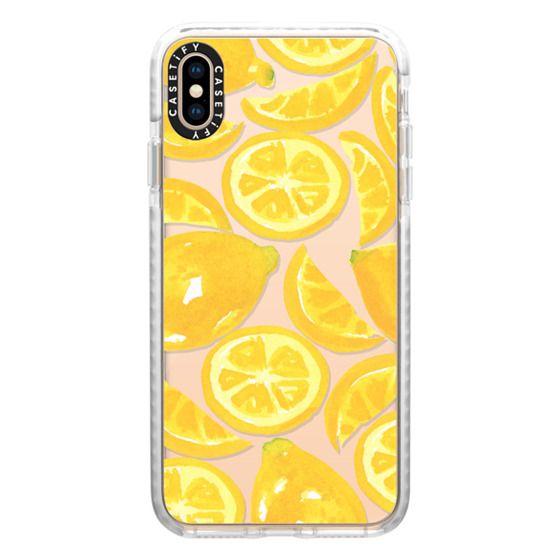 iPhone XS Max Cases - Watercolor Lemon Fruit - Citrus Yellow Tropical Fruit