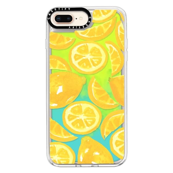 iPhone 8 Plus Cases - Watercolor Lemon Fruit - Citrus Yellow Tropical Fruit