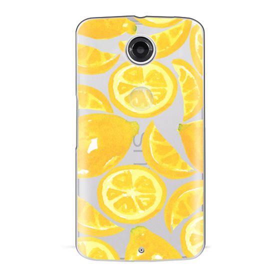 Nexus 6 Cases - Watercolor Lemon Fruit - Citrus Yellow Tropical Fruit