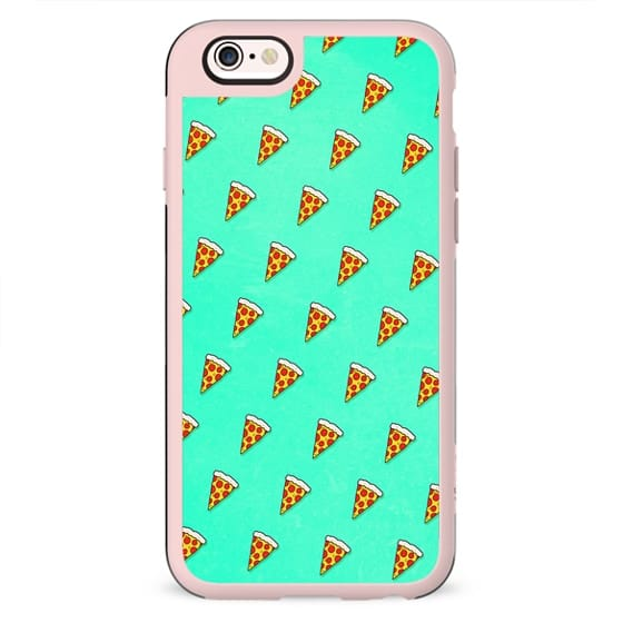 Cool and Trendy Pizza Pattern in Super Acid green / turquoise / blue