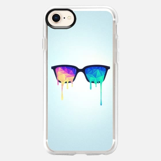 Psychedelic Nerd Glasses with Melting LSD/Trippy Color Triangles - Snap Case