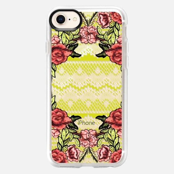 Embroidered roses and lace - Snap Case