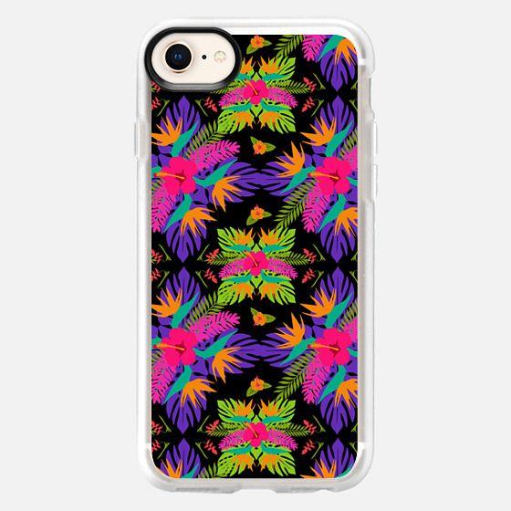 Tropical summer jungle print med on black - Snap Case