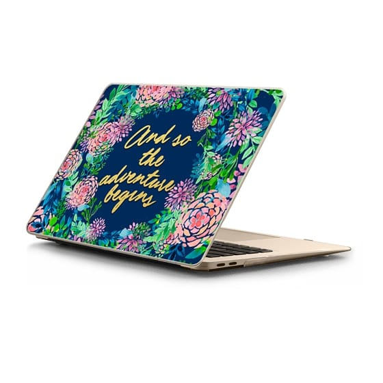 MacBook Air Retina 13 Sleeves - And so the adventure begins---floral watercolor quote