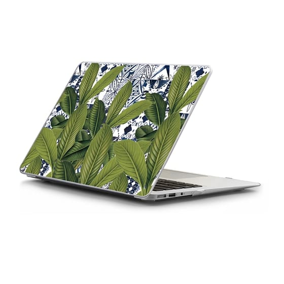MacBook Air 13 Sleeves - Floral tropical leaves on watercolor moroccan tiles