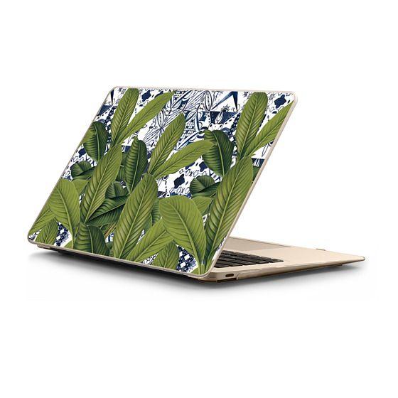 MacBook 12 Sleeves - Floral tropical leaves on watercolor moroccan tiles